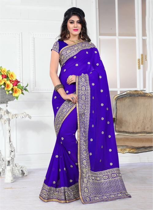 Wedding Wear Blue Georgette Heavy Embroidery Border Work Saree