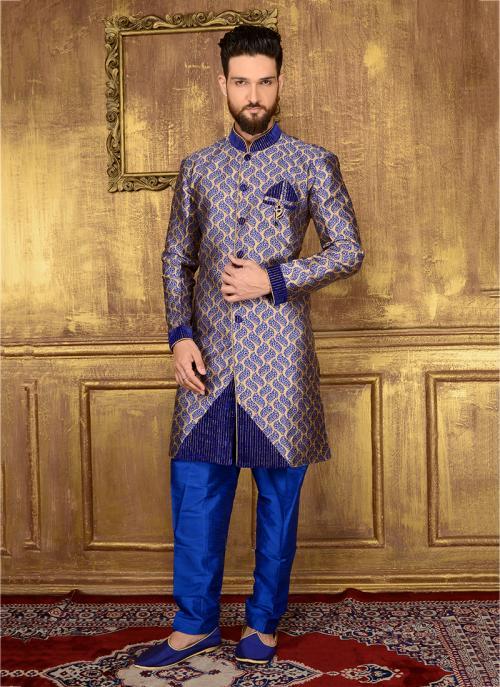 Wedding Wear Blue Jacqaurd Embroidery Work Sherwani