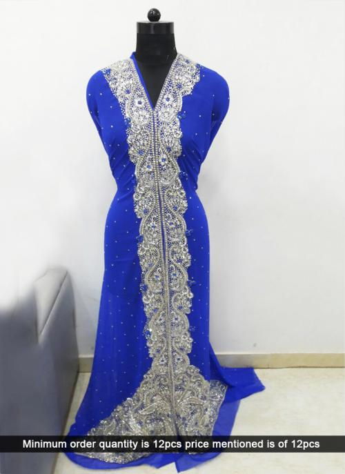 Wedding Wear Royal Blue Laser Hand Work Kaftan