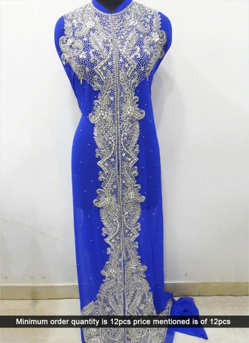 Wedding Wear Blue Laser Hand Work Heavy Designer Kaftan