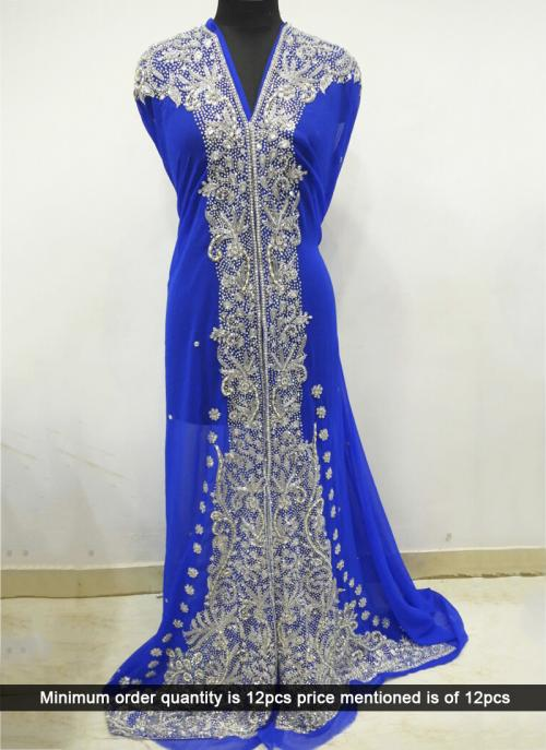 Wedding Wear Laser Hand Work Blue Kaftan