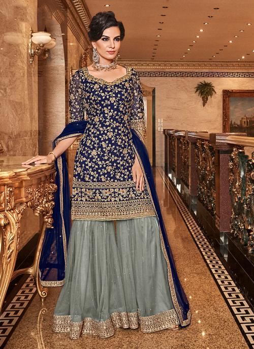 Wedding Wear Blue Net Embroidery Work Sharara Suit