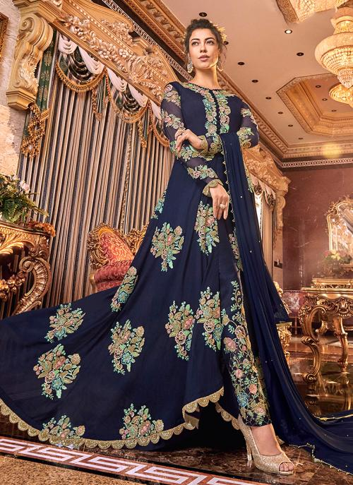 Wedding Wear Blue Satin Embroidery Work Anarkali Suit