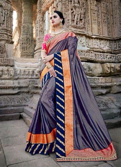 Wedding Wear Blue Silk Border Work Saree