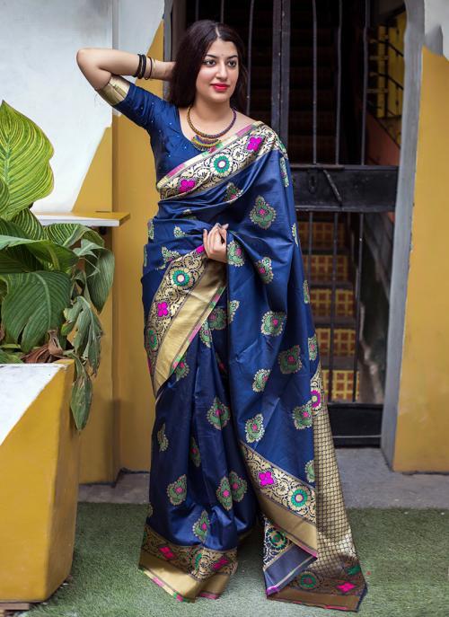Wedding Wear Blue Silk Embroidery Work Saree