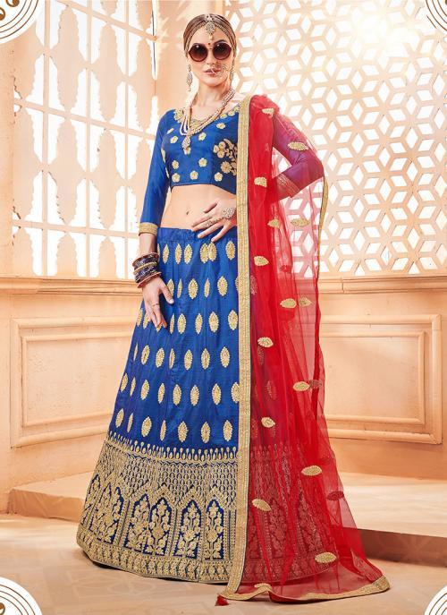 Wedding Wear Blue Silk Zari Butta Work Lehenga Choli
