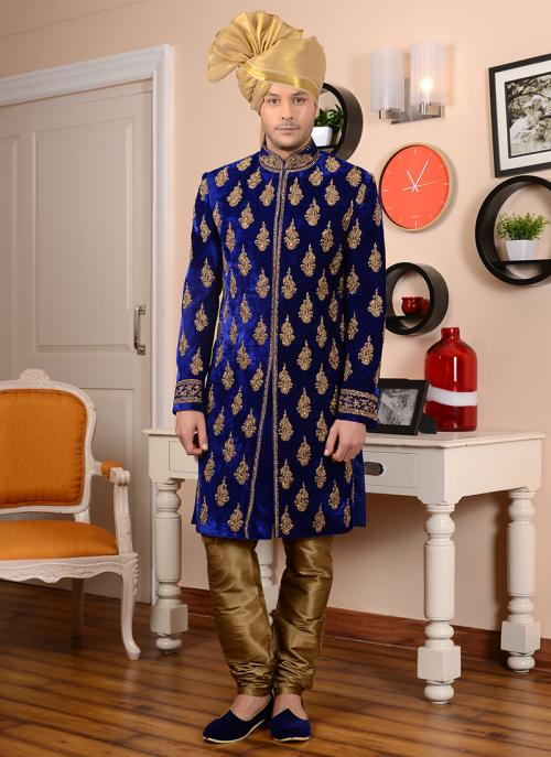 Wedding Wear Blue Velvet Embroidery Work Sherwani