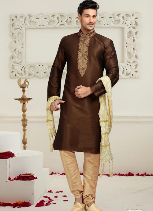 Wedding Wear Brown Art Silk Embroidered Work Churidar Sherwani