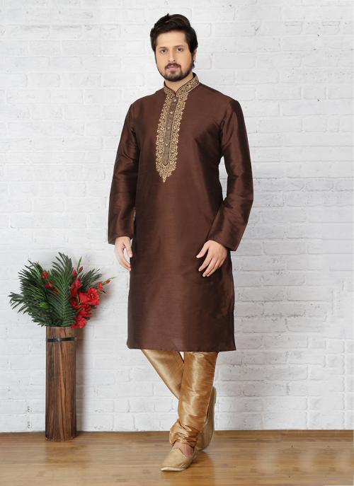 Wedding Wear Brown Art Silk Embroidery Work Sherwani Style