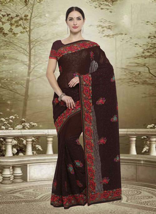 Wedding Wear Brown Georgette Embroidery Work Saree