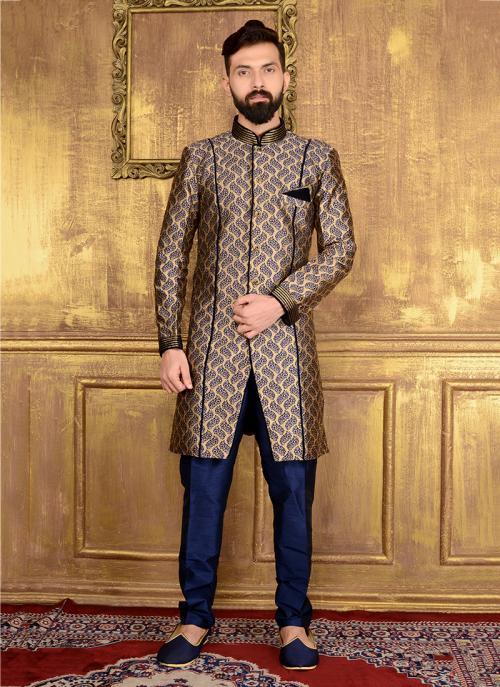 Wedding Wear Brown Jacqaurd Embroidery Work Sherwani