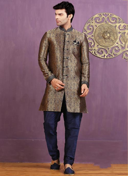 Wedding Wear Brown Jacquard Embroidered Work Sherwani