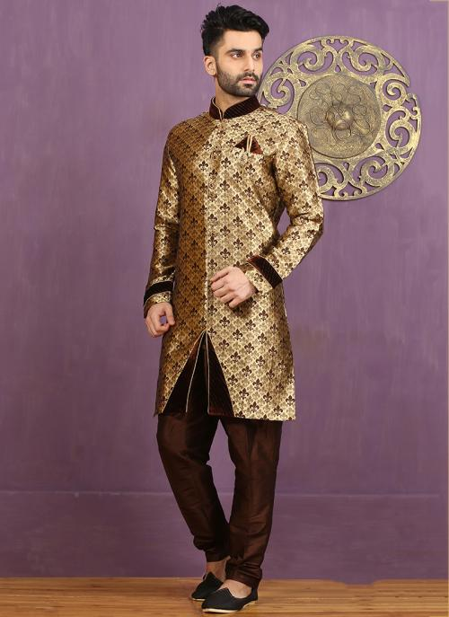 Wedding Wear Brown Jacquard Embroidered Work Sherwani