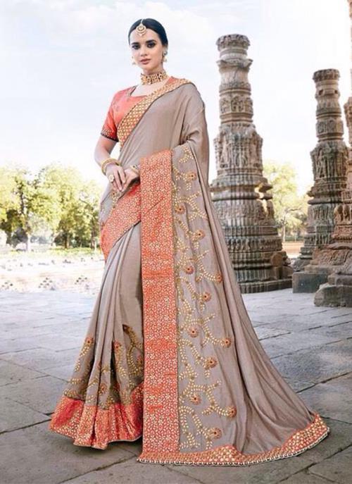 Wedding Wear Brown Silk Border Work Saree