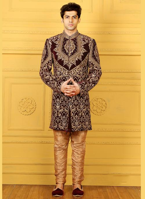 Wedding Wear Brown Velvet Embroidered Work Sherwani