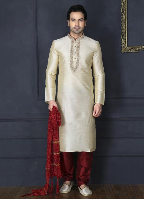 Wedding Wear Cream Art Silk Embroidery Work Churidar Sherwani Style