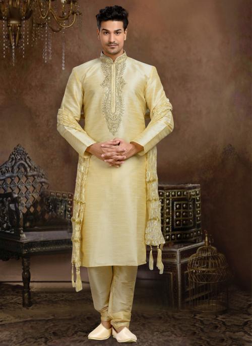 Wedding Wear Cream Dhupion Embroidered Work Churidar Sherwani