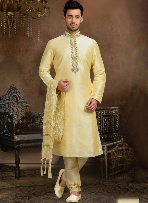 Wedding Wear Cream Dhupion Hand Work Churidar Sherwani