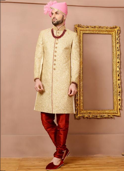 Wedding Wear Cream Jacquard Silk Heavy Embroidery Work Sherwani