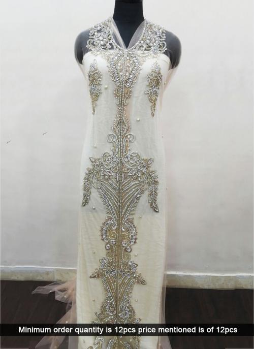 Wedding Wear Cream Laser Hand Work Designer Kaftan