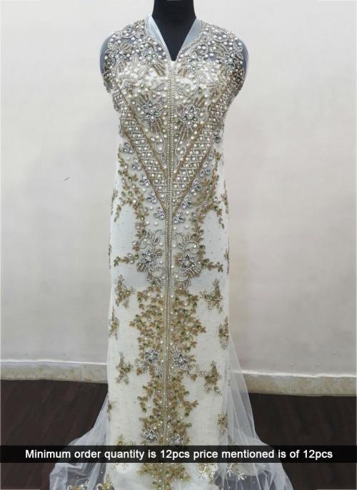 Wedding Wear Heavy Cream Laser Hand Work Kaftan