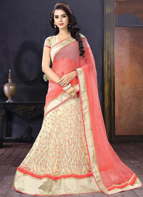 Wedding Wear Cream Net Embroidered Work Lehenga Choli