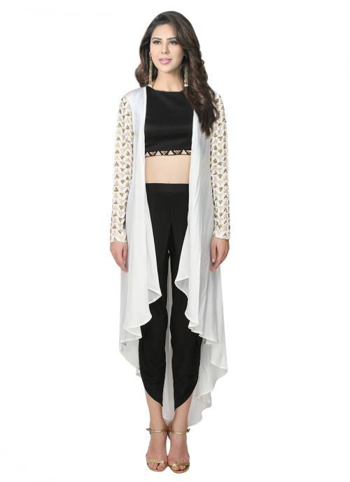 Wedding Wear Cream Satin Crepe Zari Work Prathyusha Garimella Designer Dhoti Pant With Jacket