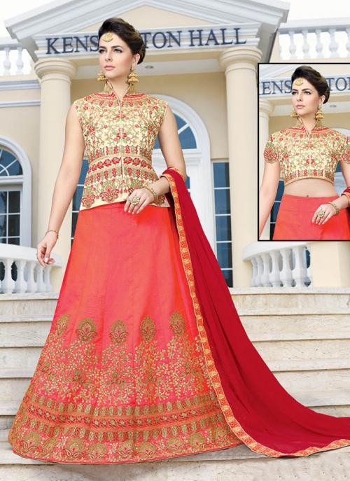 Wedding Wear Gajri Banglori Silk Embroidery Work Long Choli Style Lehenga