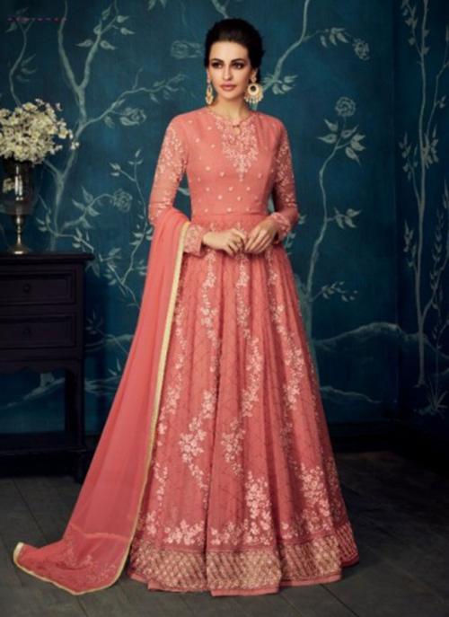 Wedding Wear Gajri Georgette Net Embroidery Work Anarkali Suit