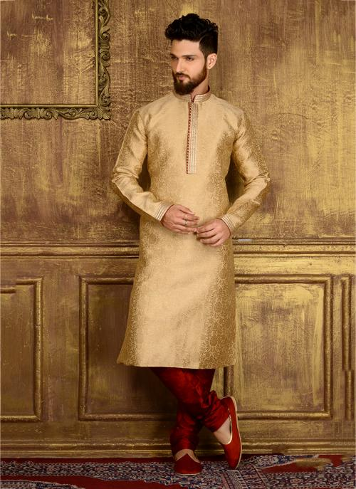 Wedding Wear Golden Jacqaurd Silk Lace Work Kurta Pajama