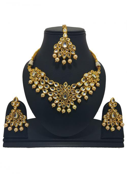 Wedding Wear Golden Kundan Stone Work Necklace