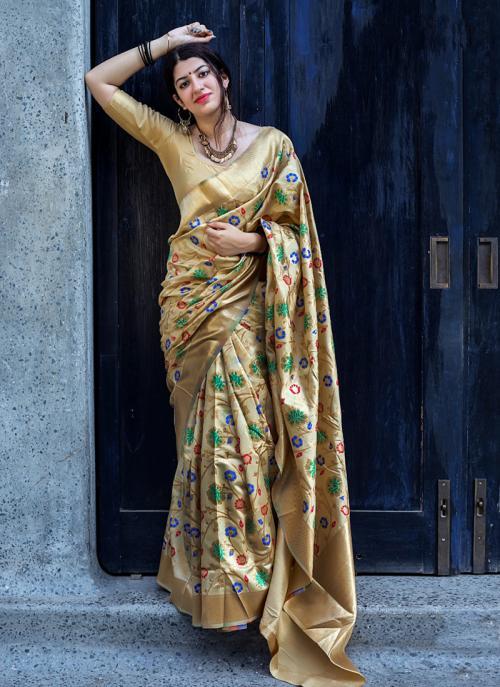 Wedding Wear Golden Silk Embroidery Work Saree