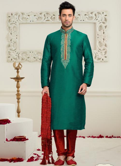 Wedding Wear Green Art Silk Embroidered Work Churidar Sherwani