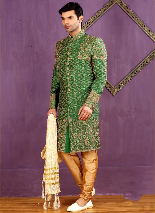 Wedding Wear Green Banarasi Silk Embroidered Work Sherwani