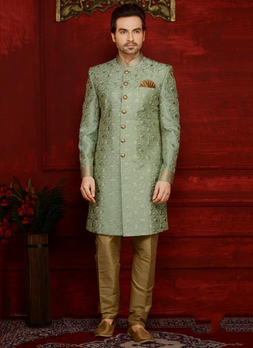 Wedding Wear Green Banarasi Silk Embroidery Work Sherwani Style