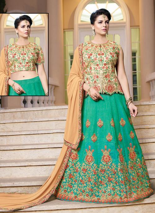 Wedding Wear Green Banglori Silk Embroidery Work Long Choli Style Lehenga