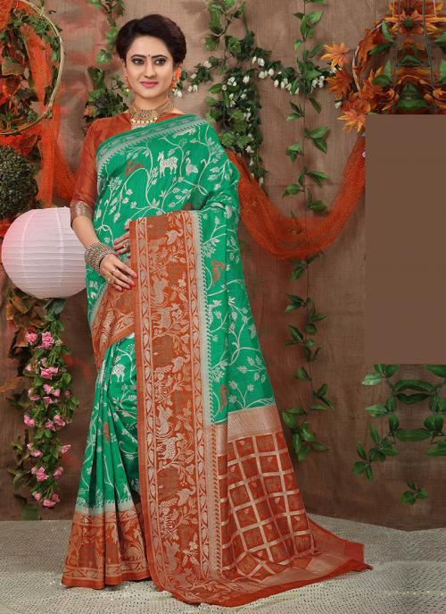 Wedding Wear Green Brocade Silk Border Work Saree