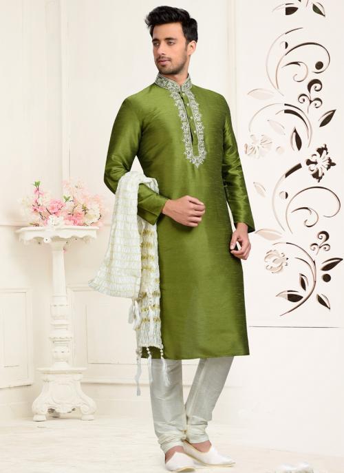 Wedding Wear Green Dhupion Embroidered Work Churidar Sherwani