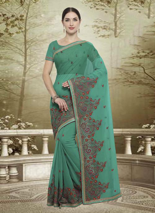 Wedding Wear Green Georgette Embroidery Work Saree