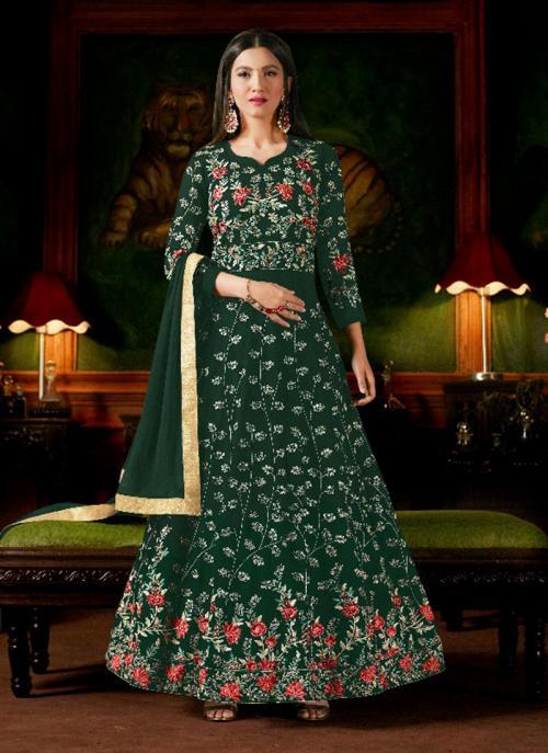 Wedding Wear Green Georgette Heavy Embroidery Work Anarkali Style