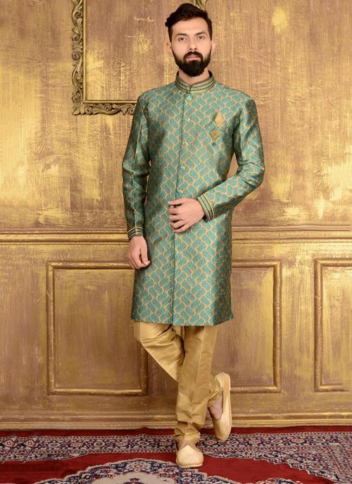 Wedding Wear Green Jacqaurd Embroidery Work Sherwani