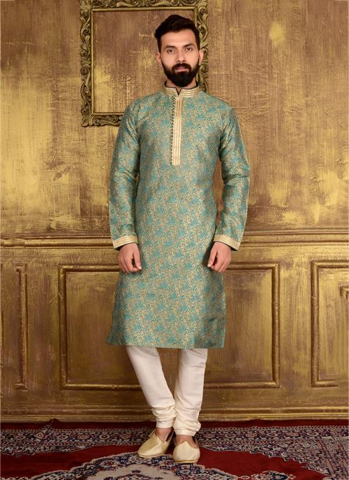 Wedding Wear Green Jacqaurd Silk Lace Work Kurta Pajama