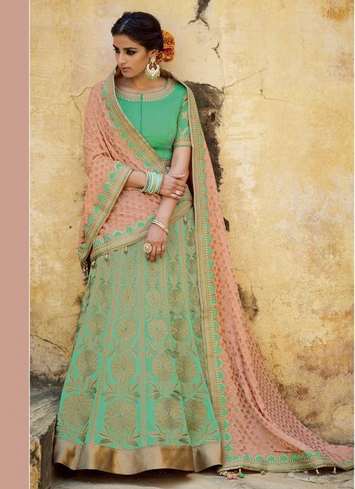 Wedding Wear Green Jacquard Embroidered Work Lehenga Choli