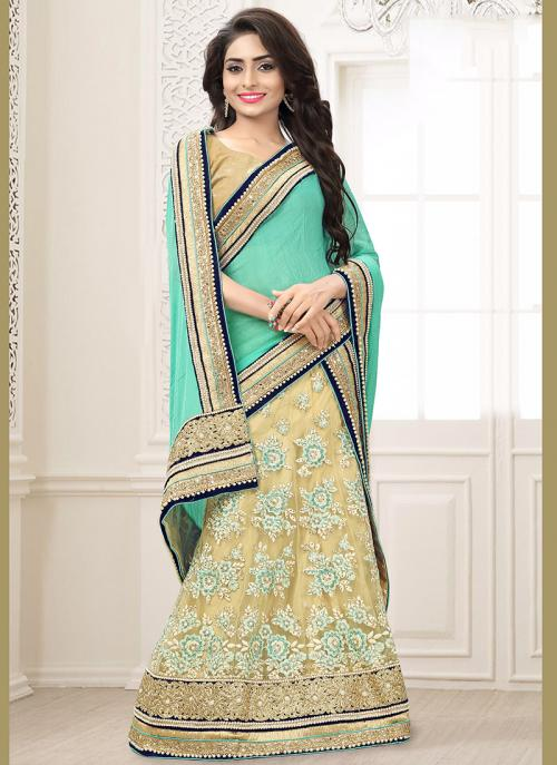 Wedding Wear Green Net Embroidered Work Lehenga Choli