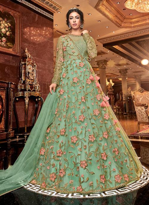 Wedding Wear Green Net Embroidery Work Anarkali Suit
