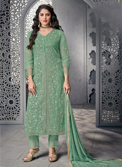 Wedding Wear Green Net Embroidery Work Palazzo Suit