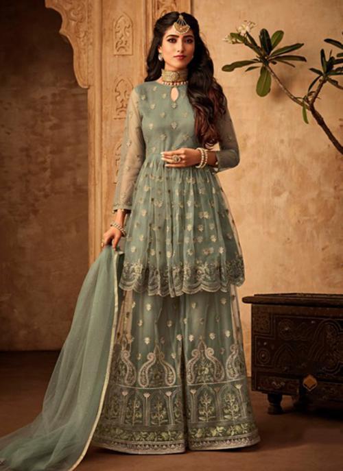 Wedding Wear Green Net Embroidery Work Sharara Suit