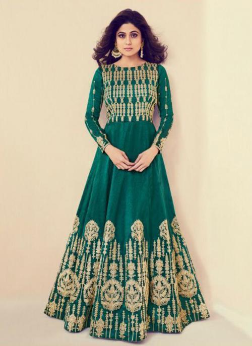 Wedding Wear Green Royal Silk Heavy Embroidery Work Anarkali Style