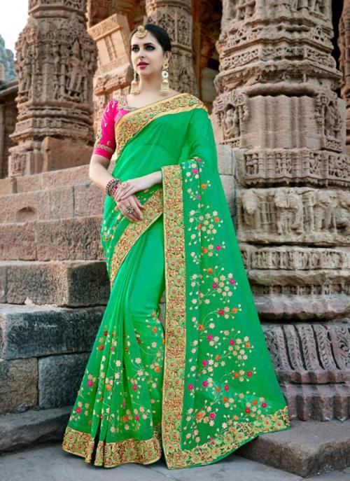 Wedding Wear Green Silk Border Work Saree