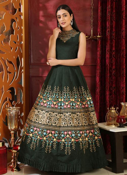 Wedding Wear Green Silk Cutdana Work Gown
